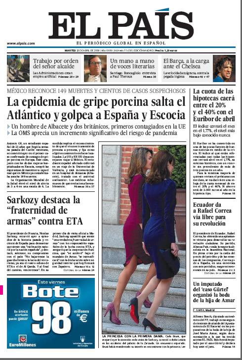 Portada del diario El País 28 de abril de 2009