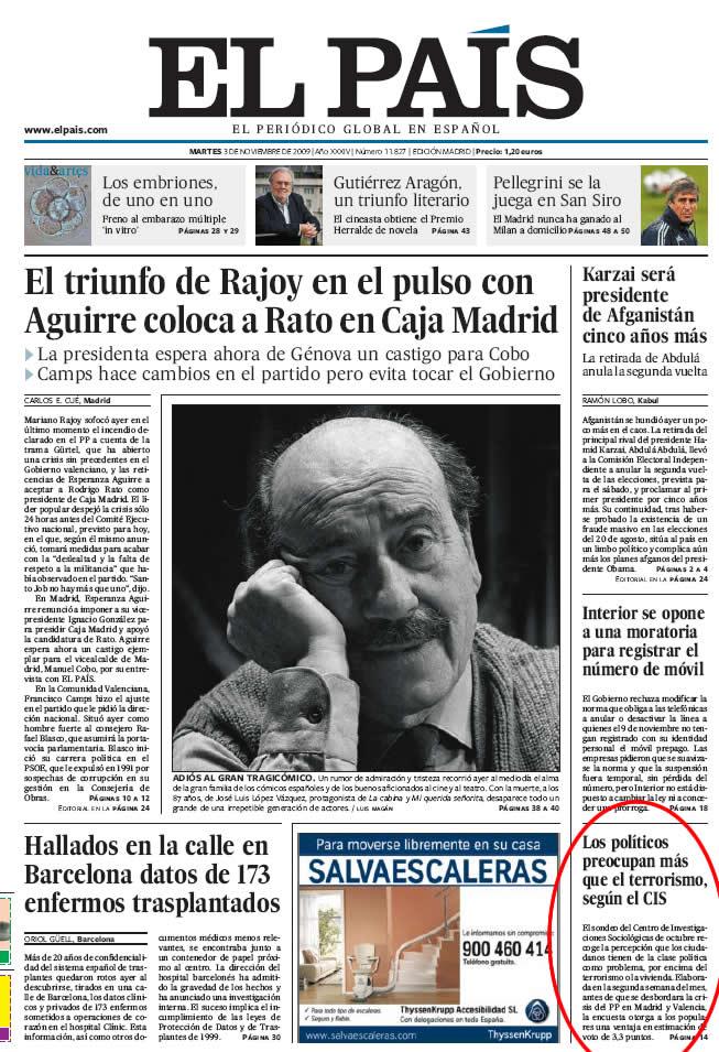 Portada de el periódico El País 3-9-2009